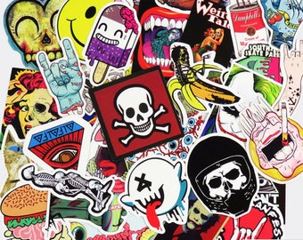 Sweet Horror Pack Stickers (x50) - Vinyl - Colourful Sticker - Lifestyle Sticker - Creepy Sticker - Skull Sticker - Ghost Sticker - Smile