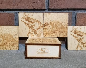 Frog Coasters : 4 Wooden Coasters and Storage Box, Frog Gift, Gift for Her, Gift for Him, Valentine's Day Gift