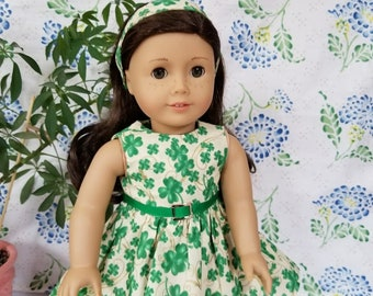 """St Patrick's Day Dress with Matching Headband for American Girl or 18"""" Dolls"""