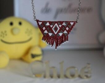 Miyuki Burgundy beaded necklace