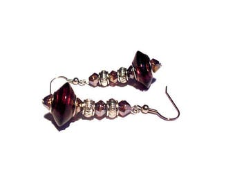 Retro earrings, plum and silver beads
