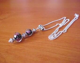 Necklace, retro chic Silver 925, black Lampwork beads