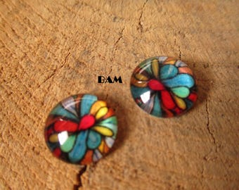 Set of 2 multicolored 12 mm cabochons