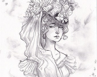Original - Illustration - Victorian woman - pencil