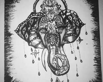 Ganesh Hindu Elephant Painting