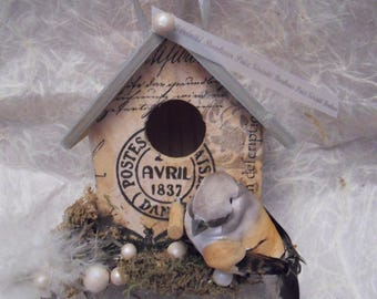 birdhouse with bird berries and MOSS decorative wooden