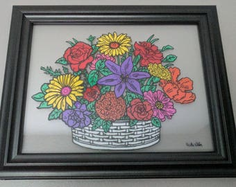 Flower Bouquet Painted Glass