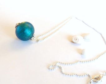 Necklace Pearl blue Murano glass and gold foil