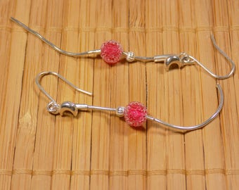 Earrings minimalist Red Crystal on 925 sterling silver snake chain