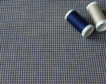 Patchwork fabric checkered vintage Navy Blue and beige