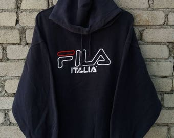 Vintage Fila Big Logo Spellout Embroidered Hoodie