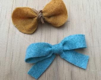 Felt bow set - mustard & heathered blue