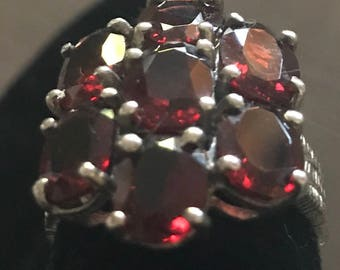 Sterling Seven Red Garnets Ring