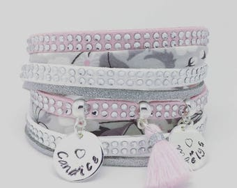 Pink personalized multi strand bracelet with 2 custom ENGRAVINGS by Palilo