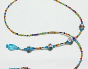 Sky Blue Cloisonne Crystal Multi Beaded Book Mark