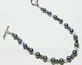 Black Pearl Black Grey Crystal Wedding Bridal Bracelet