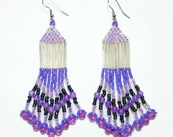 Shades of Purple Beaded Dangle Beaded Earrings