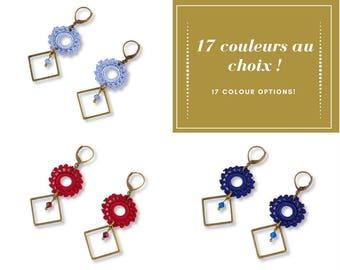 Boucles d'oreilles dentelle au crochet soleil losange, bronze, couleur au choix, Belisaba