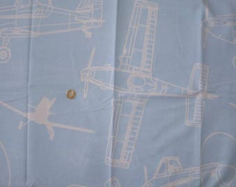"Sky blue cotton fabric child's theme ""PLANES / airplane"""
