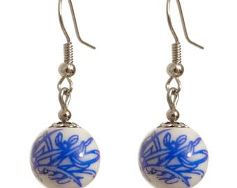 Earrings dangling white pattern China blue silver setting