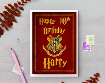 Harry Potter Personalised greetings card name and age gift birthday gryffindor slytherin hufflepuff ravenclaw