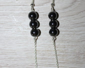 Silver earrings, apricot saucer glass beads, hematite beads