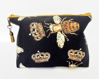 Canvas Wash bag, black and gold bees, bee species, cosmetic bag, zip bag, make up bag.