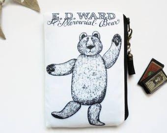 Mum gifts, zipper Bag, edward gorey, mercurial bear, dark victorian, gothic, sewing pouch, zipper wallet.