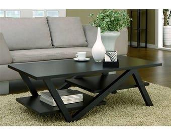 InsideOut Modern Z-Shape Multi Level Coffee Table in Black Wood Finish