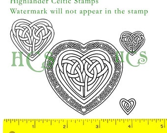 Celtic Knotwork Hearts Unmounted Rubber Stamps set of 4