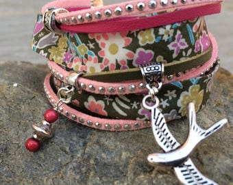 Cuff Bracelet doubles tour Khaki, Fuchsia and pale pink with silver metal charms