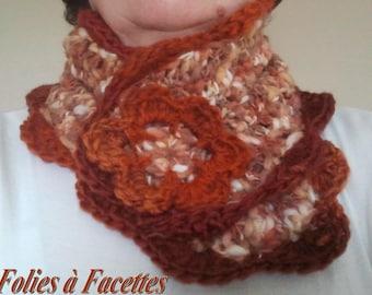 Snood soft gradient Brown and caramel crochet collar