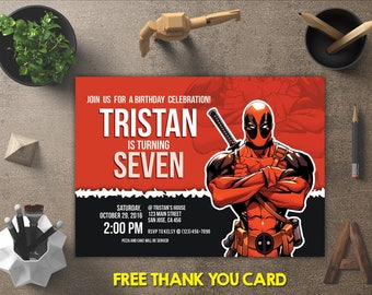 Deadpool Invitation, Deadpool Birthday, Deadpool Invites, Deadpool Printables, Deadpool Party, Deadpool Theme, FREE 4x6 Thank You Card
