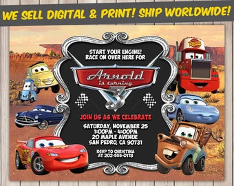 Disney Cars Invitation, Disney Cars Birthday, Disney Cars Birthday Invitation, Disney Cars Party, Disney Cars Invite, Disney Cars Printable