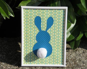 "Deco frame for child's room ""my little bunny"" colors: blue, green, white and tassel"