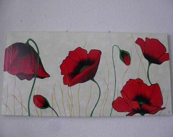 "Original acrylic painting ""beautiful poppies and beautiful lady bug"""