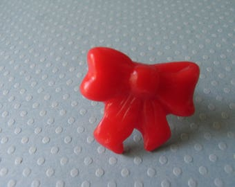 BOW TIE RED POLYMER CLAY RING