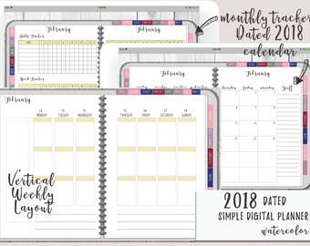 2018 Dated Simple Digital Planner or Digital Journal for iPad | Functioning Tabs | Watercolor Digital Planner With Budget & Meal Planning