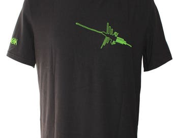 T-shirt man made in France in bamboo - hummingbirds - lines Nazca - customizable