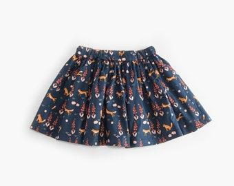 Night Foxes organic cotton popline skirt (GOTS certified fabric)