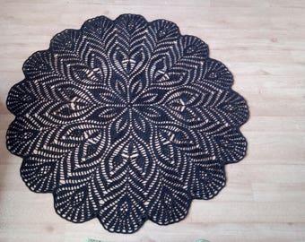 Rug linen natural crochet, crochet rug, natural materials, linen, grey rug, crochet, home decor, crochet linen.