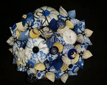 Example fabric 11 embellishments and paper Flower Bouquet and boutonniere - dark blue and ivory buttons