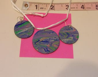 Handmade planet Earring/necklace set