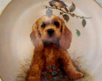 "Collectible Edwin Knowles plate entitled ""What's Up?"" Puppy and songbird"