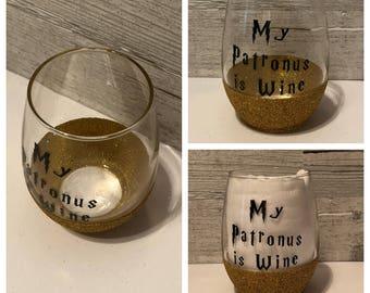 My Patronus is Wine Harry Potter Inspired Stemless Wine Glass
