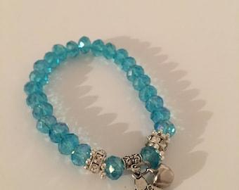 Light blue crysta charm bracelet