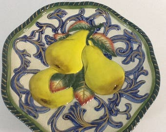 "Fitz & Floyd Florentine Fruit Canape 9"" Plate Blue Gold Pear Majolica"
