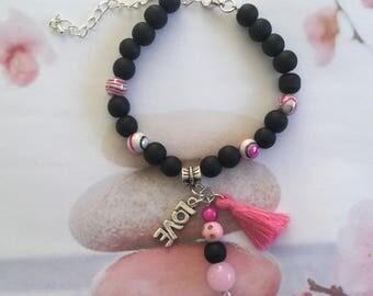 Black, pink bracelet, tassel bracelet, pink