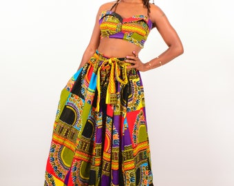 African Print 2 Piece Maxi Skirt Set