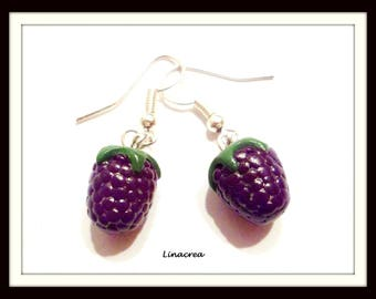 1 pair of blackberries in polymer clay fruit earrings